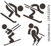 downhill skiing icons  set | Shutterstock .eps vector #159133376