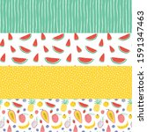vector tropical fruit... | Shutterstock .eps vector #1591347463