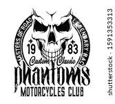 bikers club emblem  skull icon  ... | Shutterstock .eps vector #1591353313