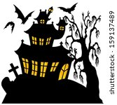 silhouette spooky house 02  ... | Shutterstock .eps vector #159137489
