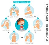 washing hands for daily... | Shutterstock .eps vector #1591398826