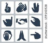 Vector Hands Icons Set  Cross...