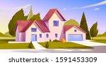 suburban house  residential... | Shutterstock .eps vector #1591453309