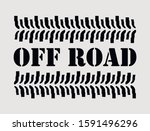 off road sign with suv tire... | Shutterstock .eps vector #1591496296