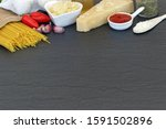 pasta ingredients on dark...