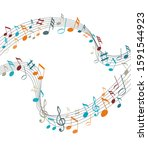 music notes on a solide white... | Shutterstock . vector #1591544923