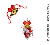 christmas decorations with fir... | Shutterstock .eps vector #1591587913