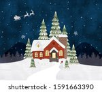 winter landscape house and trees   Shutterstock . vector #1591663390