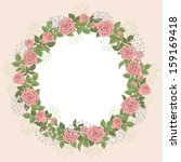 floral wreath of pink roses for ... | Shutterstock .eps vector #159169418