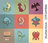 halloween vector icons set.... | Shutterstock .eps vector #159169886