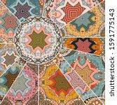 vector patchwork quilt pattern. ... | Shutterstock .eps vector #1591775143