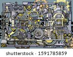 abstract factory or steampunk...   Shutterstock . vector #1591785859