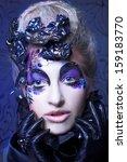 dark queen. young woman in...   Shutterstock . vector #159183770