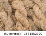 Small photo of Hemp raw material hemp thread as plait hemp roving