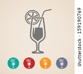 vector cocktail glass icons