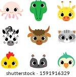 face animal cute baby sticker...   Shutterstock .eps vector #1591916329