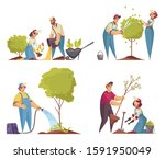 gardener concept icons set with ... | Shutterstock .eps vector #1591950049