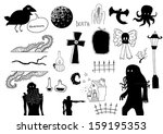 horror objects | Shutterstock .eps vector #159195353