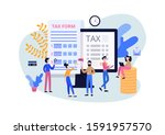 tax submit and online payment ... | Shutterstock .eps vector #1591957570