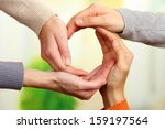 human hands making circle on... | Shutterstock . vector #159197564