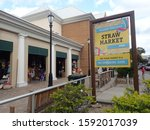 Small photo of Bay Street, Nassau, The Commonwealth of The Bahamas - 7 March 2019 : Traditional Open-Air Nassau Straw Market selling handwoven straw crafts, Bahamian souvenirs & tourists trinkets