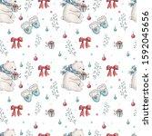 christmas winter seamless... | Shutterstock . vector #1592045656