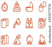 camping outline flat icons for...