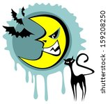 halloween angry moon and cat on ... | Shutterstock .eps vector #159208250