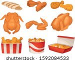 fried chicken with whole and... | Shutterstock .eps vector #1592084533