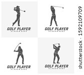 Set Of Golf Player Logo Design...