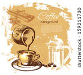 hand drawn vintage coffee... | Shutterstock .eps vector #159211730