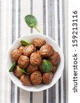 meatballs in bowl   Shutterstock . vector #159213116