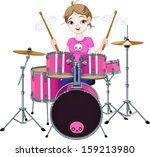 teenager girl playing drums | Shutterstock .eps vector #159213980