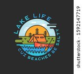 lake life logo design. modern... | Shutterstock . vector #1592147719