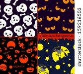 set of halloween backgrounds | Shutterstock .eps vector #159216503
