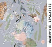 Endless Pattern With Fishes An...