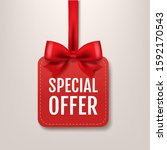 red paper special offer label... | Shutterstock .eps vector #1592170543