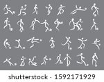 hand drawing soccer players... | Shutterstock .eps vector #1592171929