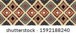ikat geometric folklore... | Shutterstock .eps vector #1592188240