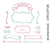 beautiful watercolor elements... | Shutterstock .eps vector #159219728