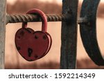 Red Padlock Heart Hanging On...