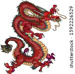 hand drawn red dragon vector... | Shutterstock .eps vector #1592226529