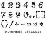 black vector leaf figures set | Shutterstock .eps vector #159223196