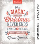 vector christmas greeting card  ... | Shutterstock .eps vector #159225440