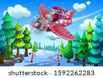 santa claus is flying in an... | Shutterstock .eps vector #1592262283
