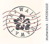 hawaii stamp postal. silhouette ... | Shutterstock .eps vector #1592301610