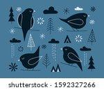 set of cute birds with... | Shutterstock .eps vector #1592327266
