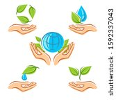 collection ecology icons.... | Shutterstock .eps vector #1592337043