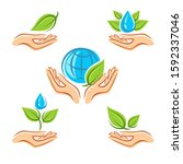 collection ecology icons.... | Shutterstock .eps vector #1592337046