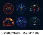 speedometer neon led light... | Shutterstock .eps vector #1592344489